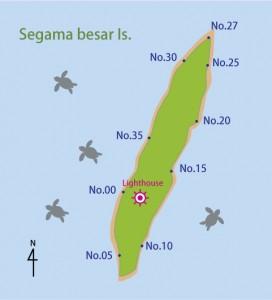 セガマ・ブサール島の区間マップ